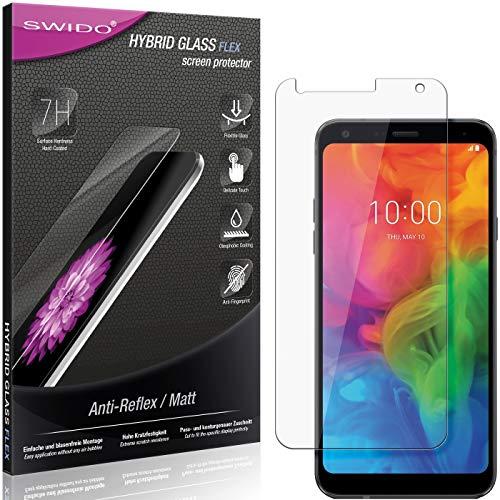 SWIDO Panzerglas Schutzfolie kompatibel mit LG Q7 Alfa Bildschirmschutz Folie & Glas = biegsames HYBRIDGLAS, splitterfrei, MATT, Anti-Reflex - entspiegelnd