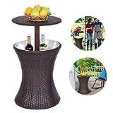 K.K 2 in 1 Rattan Eiskübel Coole Wicker Bar Tisch Eiskübel Cocktail Couchtisch Rattanoptik Höhenverstellbar für Patio Party Deck Pool Verwendung