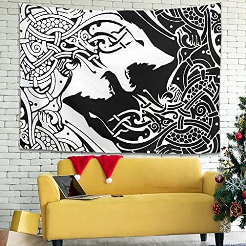 Goulagou Viking Celtic Wolf Tapestry Trippy Wall Tapestry Tapestries Wall Blanket Wall Art for Bedroom Living Room Dorm Decor White 91x59 inch