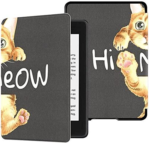 Estuche para el Nuevo Kindle Paperwhite Funda de Tela Resistente al Agua (décima generación, versión 2018), Estuche para Tableta con ilustración Colgante de Gato con Eslogan de Hola Meow