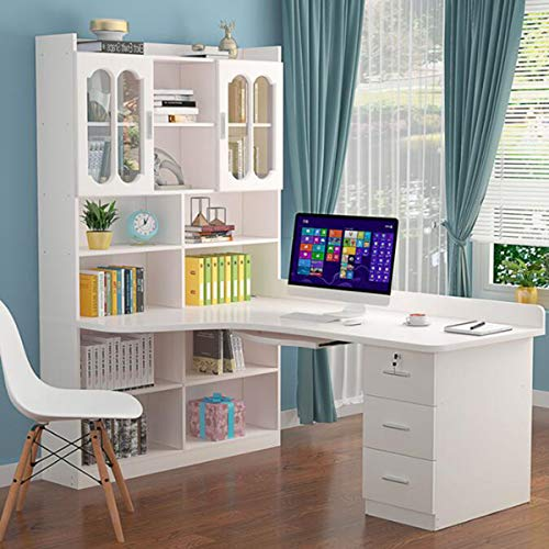 Integrated Computer Desk with Drawers And Shelves, All Solid Wood Desktop Computer Desk,Computer Desk Desktop Desk Bookcase Combination Simpleness Student Writing Desk, Space-Saving ,C,140*80*195CM