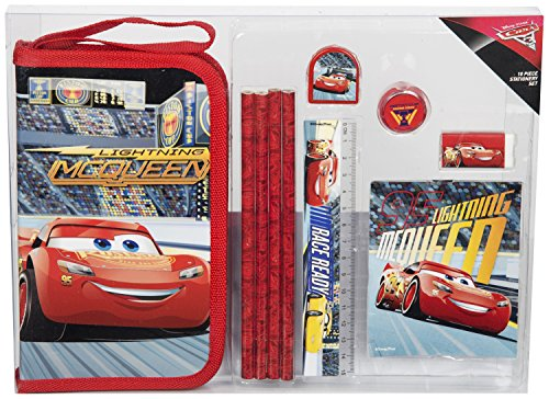 Disney Pixar - Cars 3 Set Scolastici Cancelleria Bambino Kit Scuola Astuccio Matite Righello Temperino