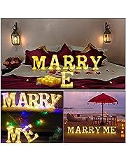 LED upplysningsbrev, alla hjärtans dag-gåva – 'Light Up Marry Me' skylt med varma vita LED-lampor – förslagsskylt, Will You Marry Me skylt, bröllopsskylt, förlovningsskylt, romantiskt förslag