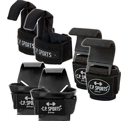 C.P. Sports - Ganchos para dominadas (extra anchos, con ganchos de metal antideslizantes y revestimiento de goma), color negro