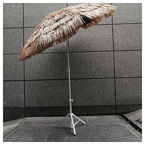 Bktmen Parasol de Paja con Base, 160 cm se Puede inclinar la protección de la protección UV Plegable de la Parasol, el jardín Hawaiano Parasol para el Patio de la Piscina de jardín Redondo