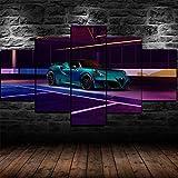 BAEPAYF Quadro 150x80 cm 5 Pezzi Stampa su Tela in TNT XXL Arte Murale Immagini Auto Sportiva Zeus Racing Pogea HD Moderni Fotografia Grafica da Parete Soggiorno Decorazioni per La Casa