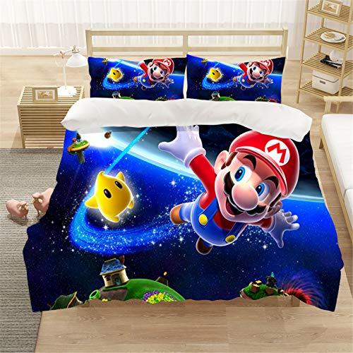 LIYIMING Super Mario Bros - Juego de funda de edredón y funda de almohada (3 piezas, microfibra ultrasuave, cálida y suave, tamaño A5, 155 x 220 cm)