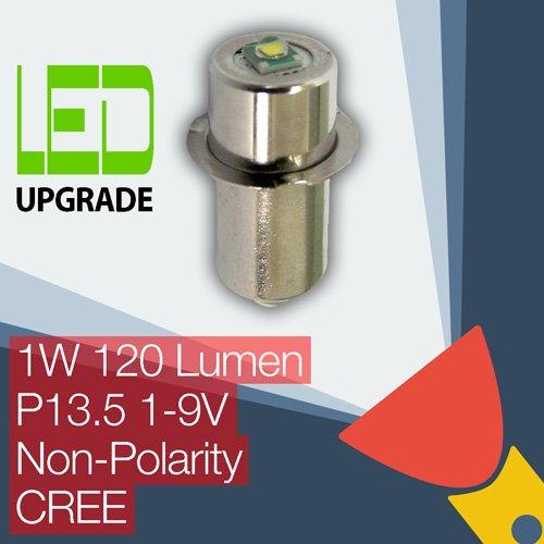 Ampoule LED Cree de remplacement améliorée - Compatible avec la plupart des torches au culot P13.5 - Universelle - Non-polaire - 1 à 9 V - 1 W - 120 LMPlus de 50 000 heures