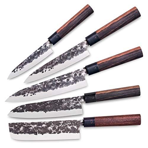 3 Claveles Juego de 5 Cuchillos Profesionales Estilo Japonés Gama Osaka, Hojas Unicas Forjadas a Mano
