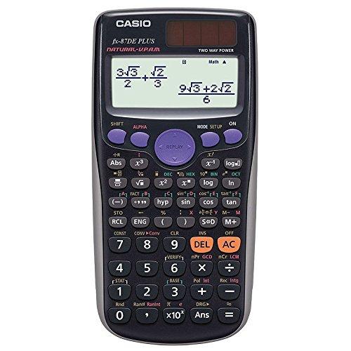Casio FX-87 DE Plus Schulrechner + Buch: Im Fokus ll, Wissenschaftlicher Taschenrechner, natürliches Display, Tischrechner für Schule und Uni, Solar/Batterie, Buch mit Übungsaufgaben für Rechner