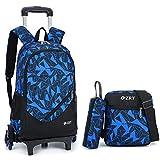 Zaino scolastico con rotelle per ragazzi, scuola secondaria, in nylon impermeabile, 19 x 32 x 47 cm Blu blu 6 Roues