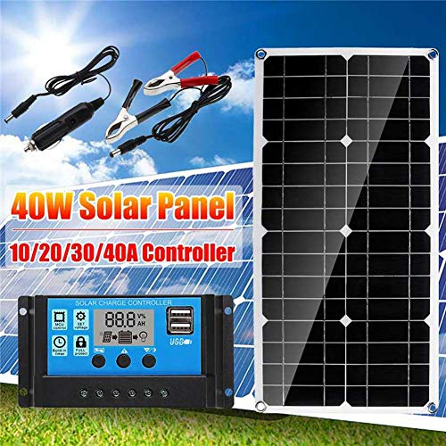 waysad 40W 12V Panel Solar monocristalino con Controlador de Carga Ideal para Caravana, jardín häuse, con Conectores + Ventosa de 4 Piezas para Sistema de batería Fashionable