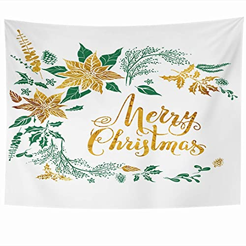 N\A Wall Hanging Tapestries Handwritten Christmas Floral Decoration Poinsettia Winter Holiday Nature Handwriting Holidays Year Tapestry Wall Blanket Home Decor Living Room Bedroom Dorm