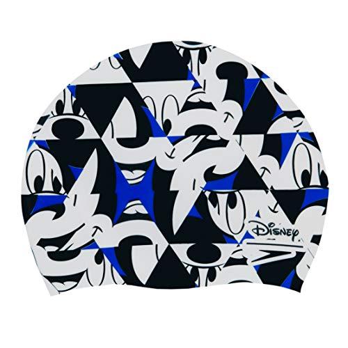 Speedo Unisex-Youth Mickey Mouse Slogan Print Swim Cap, Blue Flame/Black/White, One Size