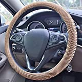 Lonfu Silicone Steering Wheel Cover - Stress-Relieving Massage Grip Steering Wheel Covers Anti-Slip Universal Car Steering Wheel Cover for Women Men Fits 14-15 Inch Beige