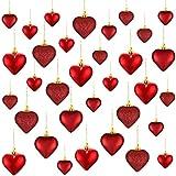 Skylety Ornamenti a Cuore di Valentine, 3 Palline di Cuore Diverse Bagatelle dell'Albero di Natale a Cuore Decorazioni da Appendere per Anniversario di Matrimonio, 2 Misure (Rosso, 30 Pezzi)