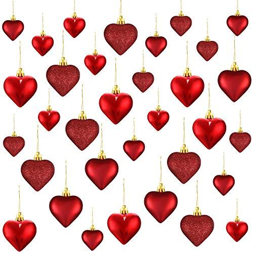 Ornamenti a Cuore di Valentine, 3 Palline di Cuore Diverse Bagatelle dell'Albero di Natale a Cuore Decorazioni da Appendere per Anniversario di Matrimonio, 2 Misure (Rosso, 30 Pezzi)