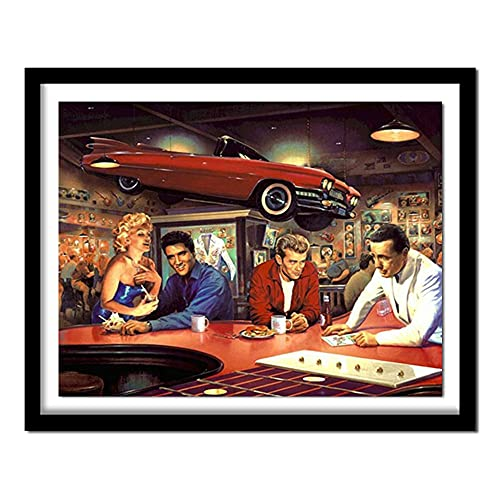 ZXXGA DIY 5D Diamante Pintura Elvis y Coche Punto de Cruz Cristal Rhinestone Bordado Imagen Arte artesanía hogar decoración de la Pared Regalo Diamante Redondo 40x30cm