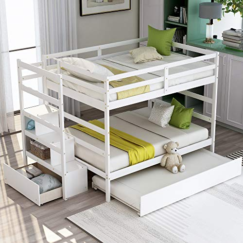 Bunk Bed Full Over Full with Trundle,JULYFOX 725lb Heavy Duty Full Size Bunk Bed with Stairs Drawers Shelf Hard Wood for Small Spaces,White