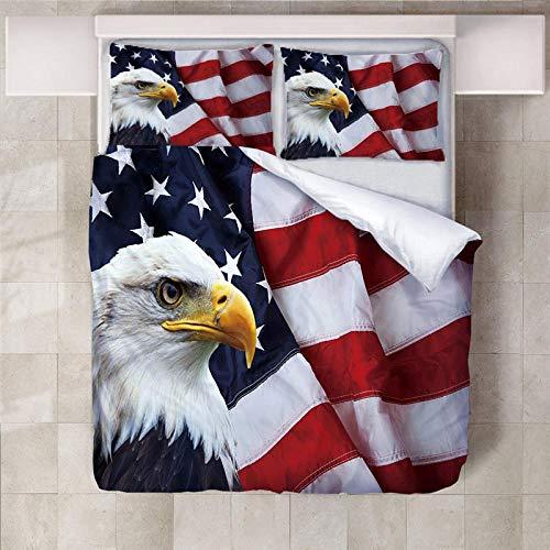 Artezxx Dekbedovertrek, 3D motief, adelaar, vader van de Amerikaanse vlag, bedrukt met patroon, 1 dekbedovertrekset en 2 kussenslopen, polyester, Easy Care, kindertieners, volwassenen