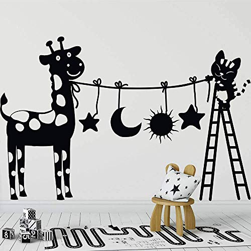 38 * 57 cm Leuke kat en Koe Muursticker Vinyl Verwijderbare Kwekerij Muursticker Leuke kat met Ladder Muursticker Kwekerij