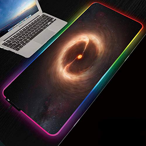 Mouse Pads Starry Black Hole RGB Mouse Pad Led Gaming Glowing Mat with Non-Slip Rubber Base for Computer Keyboard Mice Pads for Gamer Gaming-RGB_19.69'x39.37'