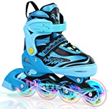 JUSUEN Adjustable Inline Skates for Kids with Light up Wheels, Indoor and Outdoor Patines Roller Blades Skates for Girls and Boys Youth -Blue Medium(2-5US)