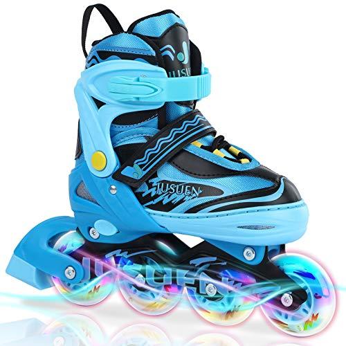 JUSUEN Inline Skates Adjustable for Kids, Roller Blades/ Skates Boys and Girls,Light Up Roller Blading for Youth Ages Blue Pink -Blue Small(Year11-1US)