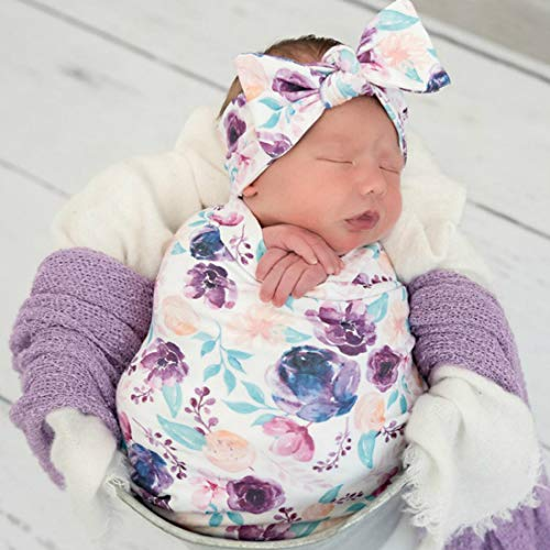 Terriboo Newborn Floral Print Blanket Baby Stretch Wrap with Matching Headband and Beanie White