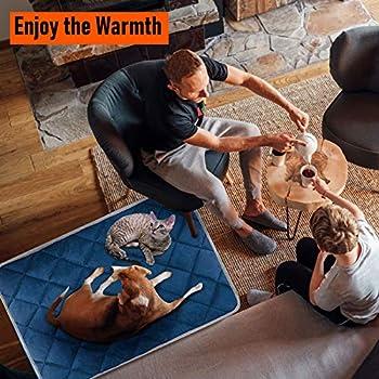 Coussin Auto-Chauffant pour Chat & Chien, Grande Taille 90x60cm, sans électricité & Batteries, Tapis Couverture Thermique Lavable Anti-dérapant Etanche Innovant écologique Self Heating Pad, Bleu