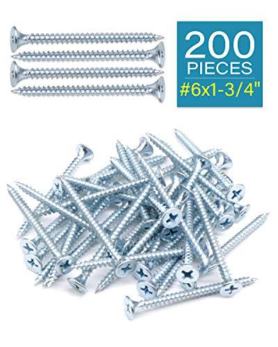 """IMScrews 200pcs #6x1-3/4"""" Flat Head Phillips Drywall Screws Fine Thread Sharp Point Wood Screw Assortment Kit, Carbon Steel 1022A, Zinc Coated"""