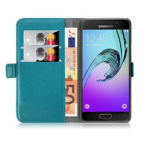 JAMMYLIZARD Lederhülle für Samsung Galaxy A3 (6) 2016   Handyhülle Book Hülle Tasche [ Luxuriöse Series ] Ledertasche Flip Cover Hülle Leder Schutzhülle mit Kartenfach, Türkis