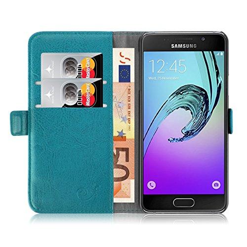 JAMMYLIZARD - Custodia a libro in pelle per Samsung Galaxy A3 (6) 2016, serie lussuosa, con scomparto per carte di credito, colore: Turchese