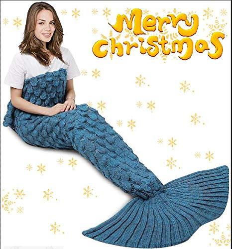 "Handmade Knitted Mermaid Tail Blanket Crochet, Vhouse All Seasons Warm Bed Blanket Sofa Quilt Living Room Sleeping Bag for Adult (70-80)""× 35.5"", (Lake Blue) (Lake Blue)"