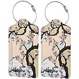 BCLYPBO Fuji Mountain Cherry Tree en Japón Etiquetas de equipaje de cuero, etiquetas de equipaje, etiquetas de maleta de cuero PU con bucle de acero inoxidable 2 piezas Set
