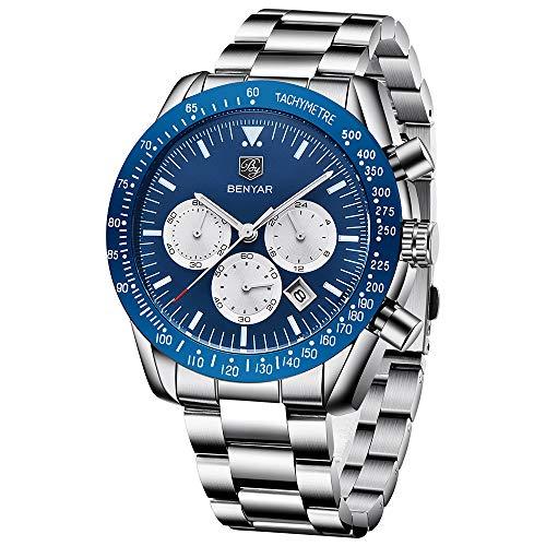 BENYAR Herren Chronograph Uhren Analog Quarzuhr Männer Edelstahlarmband Blau Zifferblatt 30M Wasserdicht Mode Sport Armbanduhr Elegantes Geschenk