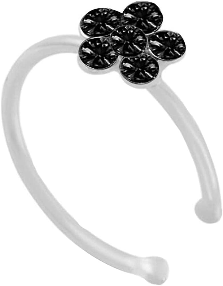 Gsdviyh36 Body Piercing Jewelry,Women Fashion Rhinestone Inlaid Flower Shape Nose Ring Perfect a Jewelry Gift Nose Ear Lip Belly Button Decor