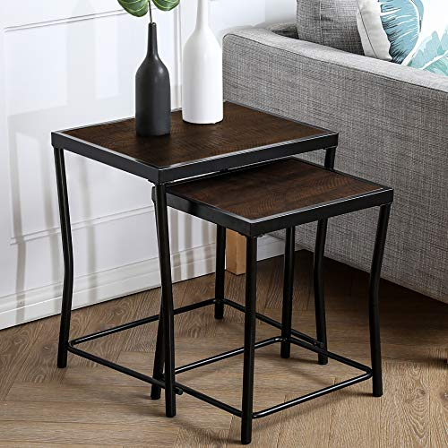 HOMOOI Nesting Tables Set of 2, Stacking Side Tables, Nesting Coffee Table for...