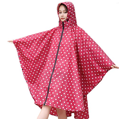 WGZ- Regenjas Cloak regenjas Adult Hiking Bicycle Single Poncho Riding Waterproof Anti-storm Rain Biking Mode (Color : Red, Size : XL)