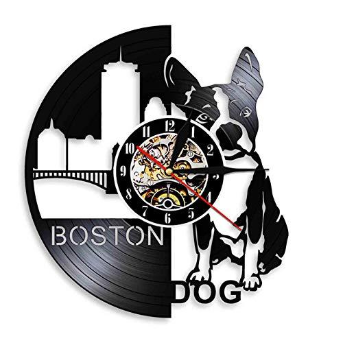 WWZY Reloj Pared Vinilo Boston Terrier para Perro Estilo Retro Hecho A Mano Artesanía Movimiento Cuarzo Silencioso Decoración El Hogar Regalo Personalidad Creativa No LED