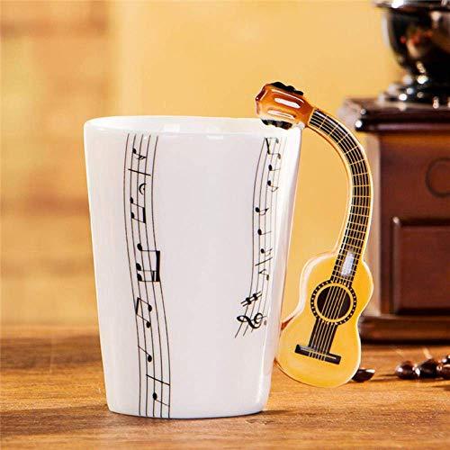 WYYHYPY Taza de Guitarra eléctrica de cerámica de la Copa Musical Taza de Instrumentos Musicales de la Taza de Leche nórdica, Guitarra acústica de Cinco líneas, 201-300ml Tazas