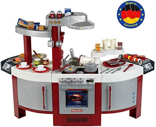 Klein 9125 Cuisine Miele N° 1 | Jouable des deux côtés | Plaque de cuisson avec bruitage, nombreux accessoires | Dimensions: 137 cm x 55 cm x 95 cm | Jouet pour enfants à partir de 3 ans