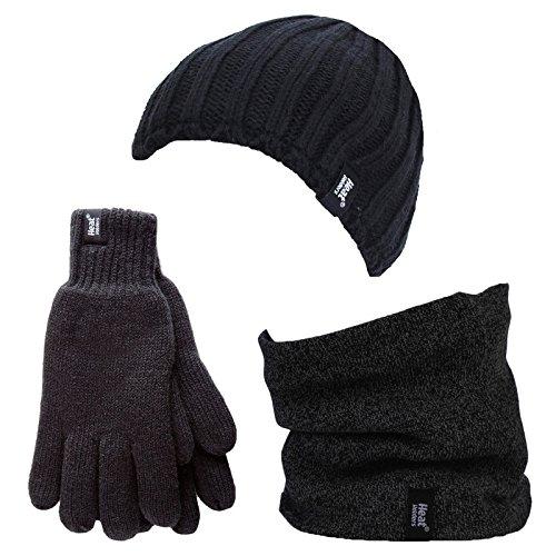 HEAT HOLDERS - Herren Thermische Winter-Vlies-Kabel Wollmütze, Nackenwärmer und Handschuhe gesetzt (L/XL, Schwarz)