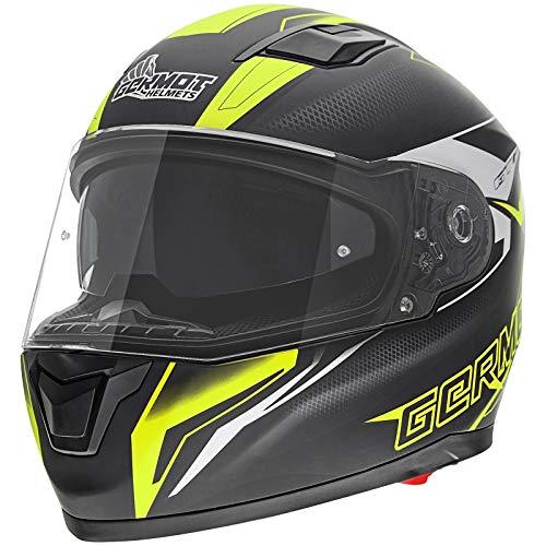 Germot GM 330 Integralhelm Motorrad Helm Integrierte Sonnenblende Kratzfestes Visier Schutz, 000330, Farbe Schwarz Gelb, Größe XS