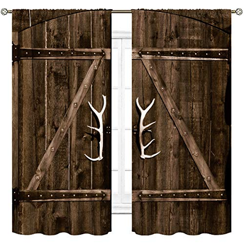 Cinbloo Wooden Garage Door Curtains Rod Pocket White Barn Vintage Rustic Country Gate Antler Handles Modern Art Printed Living Room Bedroom Window Drapes Treatment Fabric 2 Panels 42 (W) x 63(L) Inch