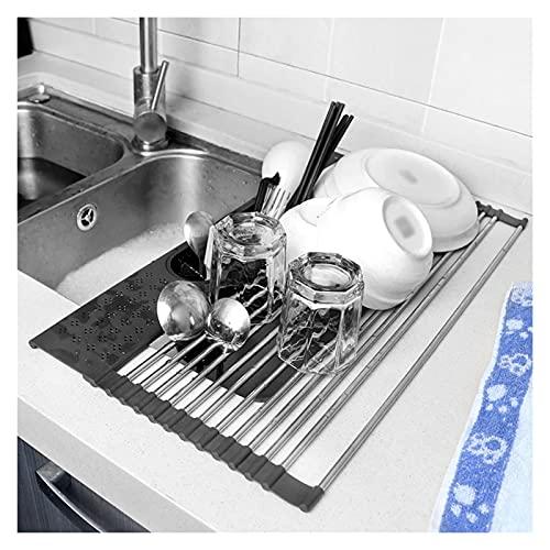 Colador de cocina Enrollar el plato de secado del lavamanos del fregadero del fregadero del fregadero del fregadero del fregadero del fregadero de acero inoxidable. Ensaladera Colador