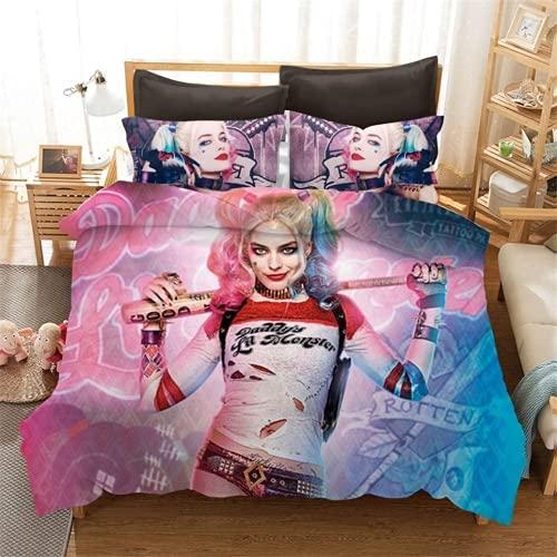 Neighbor Axin Harley Quinn Kids Beddengoed Set Clown Meisje Harley Quinn 3D Gedrukt Dekbedovertrek met 2 kussenslopen…