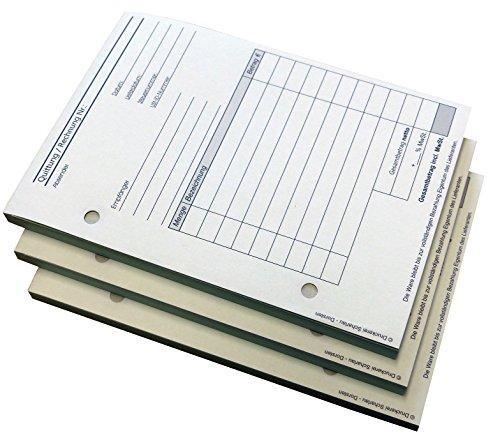 3x Block Rechnung/Quittung - Quittungsblock - 2 x 50 Blatt DIN A6 hoch - gelocht - SD -durchschreibend (22234)