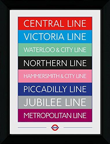 GB eye Ltd Transporte para Londres, líneas (mm), Color Negro, impresión enmarcada 50x 70cm, Madera, Varios, 55x 75x 2.9cm