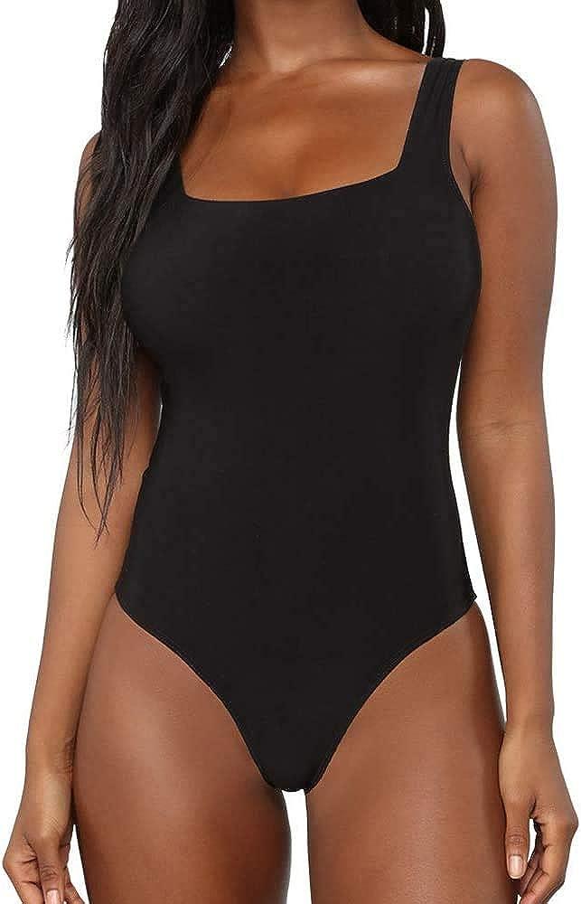 BelleLovin Women's Scoop Neck Bodysuits Sleeveless Tank Top Jumpsuits (Black II, Small)